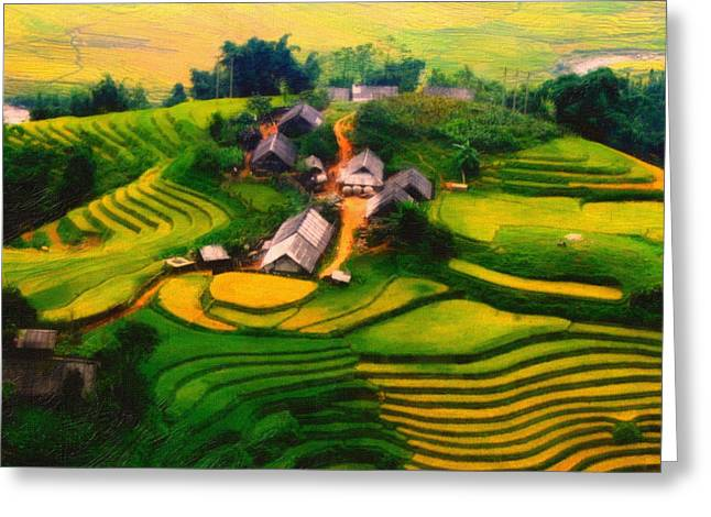 Shell Texture Greeting Cards - A Village In Vietnam Greeting Card by MotionAge Designs