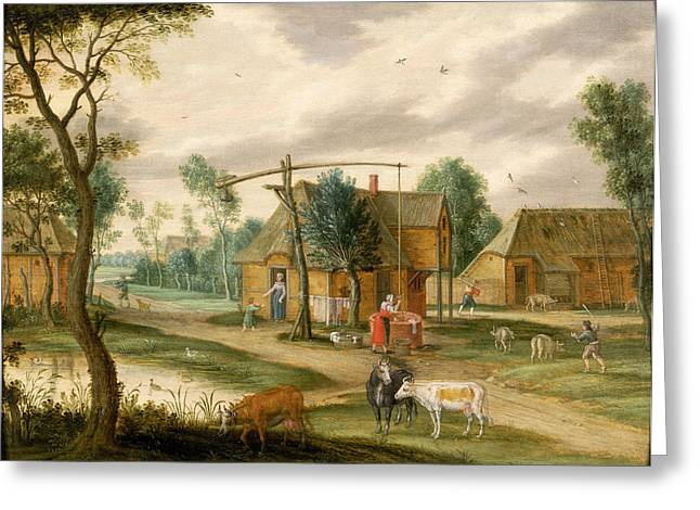 Pig Photographs Greeting Cards - A Village Landscape With A Woman Drawing Water From A Well Panel Greeting Card by Isaak van Oosten