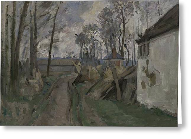 Rural Landscapes Greeting Cards - A Village Road Near Auvers, 1872-73 Greeting Card by Paul Cezanne