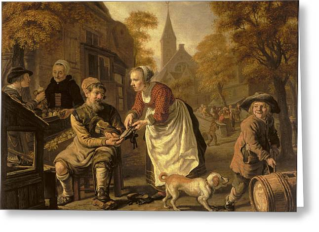 Apron Photographs Greeting Cards - A Village Scene With A Cobbler, C.1650 Oil On Canvas Greeting Card by Victors