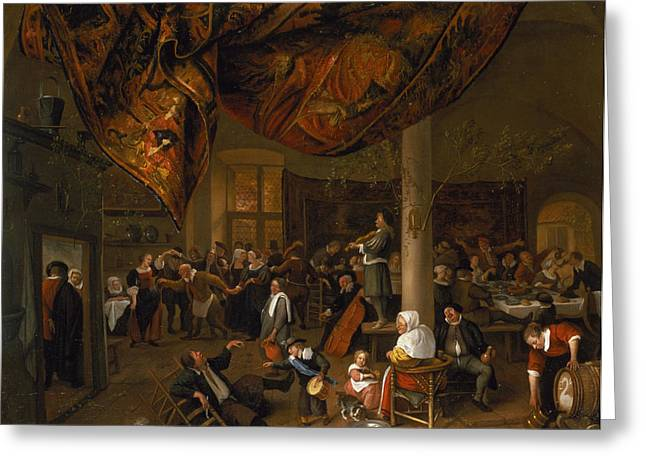 68 Greeting Cards - A Village Wedding Feast With Revellers And A Dancing Party, 1671 Greeting Card by Jan Havicksz. Steen