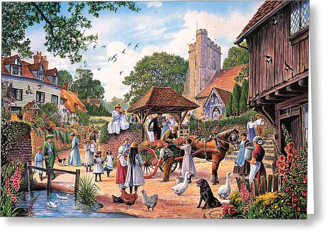 Churchyard Greeting Cards - A Village Wedding Greeting Card by Steve Crisp