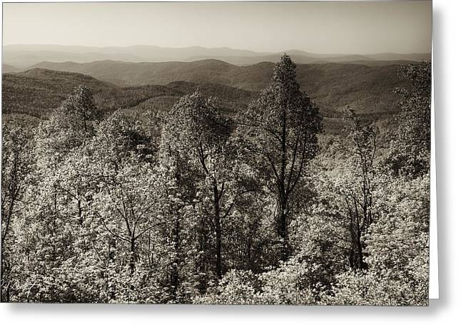 Parkway Digital Greeting Cards - A Vintage Blue Ridge View Greeting Card by Phill  Doherty