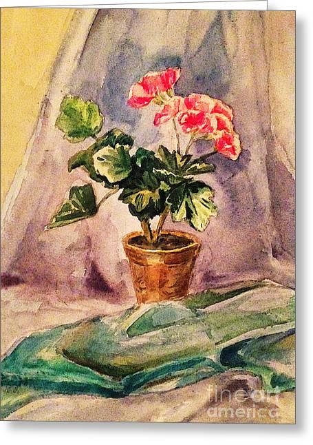 Geraniums Greeting Cards - A Vintage Geranium Pot Greeting Card by Irina Sztukowski