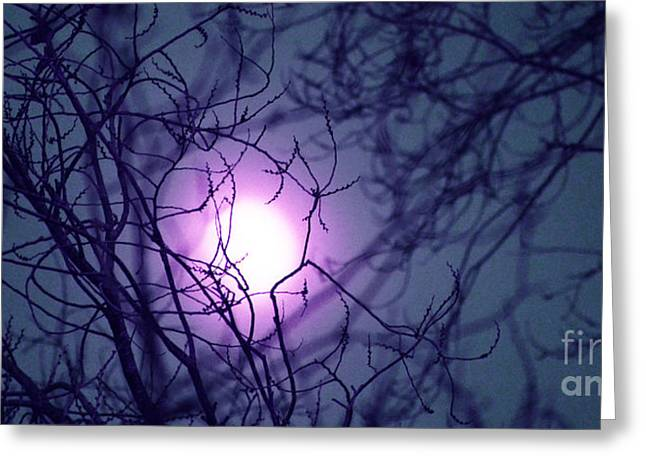Surreal Moonrise Greeting Cards - A Violet Ring of Higher Moonlight  Greeting Card by Susanne Still