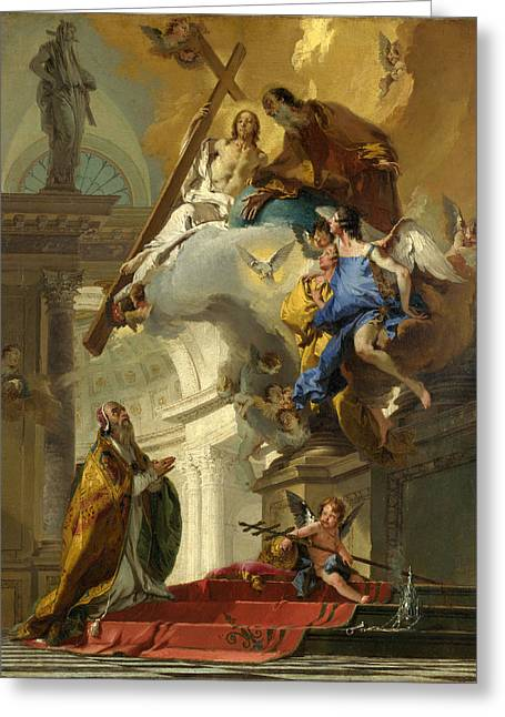 Giovanni Battista Tiepolo Greeting Cards - A Vision of the Trinity Greeting Card by Giovanni Battista Tiepolo