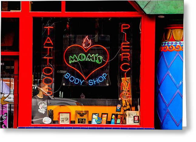 Haight Ashbury Greeting Cards - A Visit to Moms Greeting Card by Art Block Collections