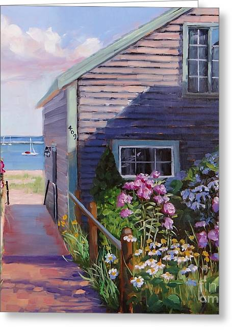 Ocean Shore Paintings Greeting Cards - A Visit to P Town Two Greeting Card by Laura Lee Zanghetti