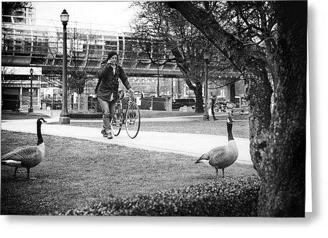 Ladies Bike Greeting Cards - A Waddle in the Park Greeting Card by Paul W Sharpe Aka Wizard of Wonders