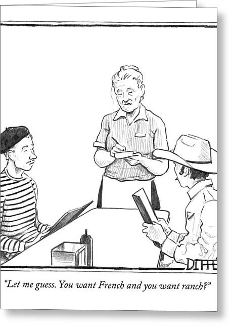 A Waitress Takes The Orders Of Two Men Greeting Card by Matthew Diffee