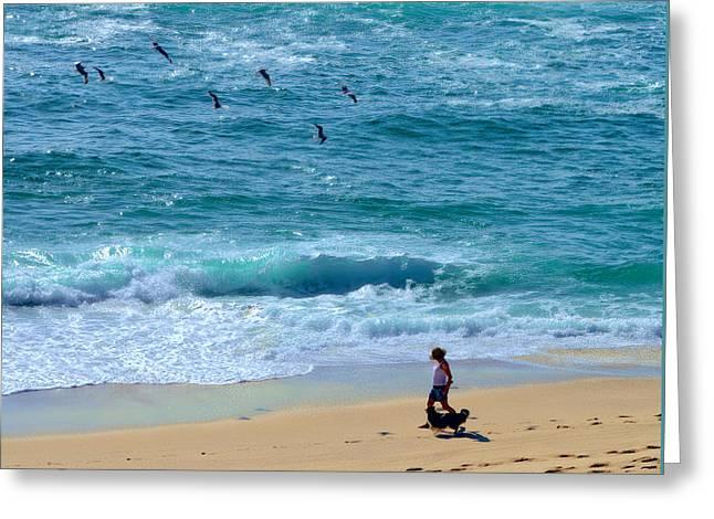 A Walk Along The Beach By Kaye Menner Greeting Card by Kaye Menner