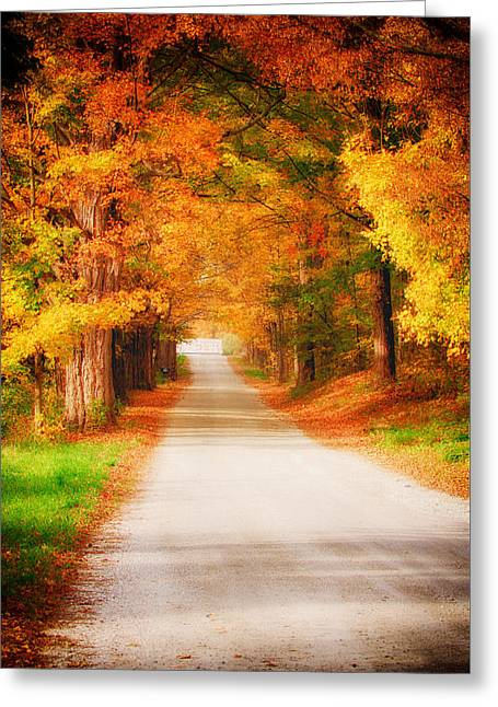 Folgers Greeting Cards - A walk along the golden path Greeting Card by Jeff Folger