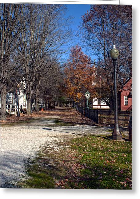 Billie Creek Village Greeting Cards - A Walk Down History Lane Greeting Card by Thomas Sellberg