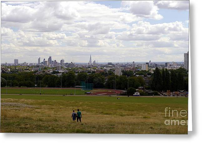 The Hills Greeting Cards - A Walk In London Greeting Card by John Chatterley