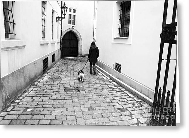 A Walk in Prague Greeting Card by John Rizzuto
