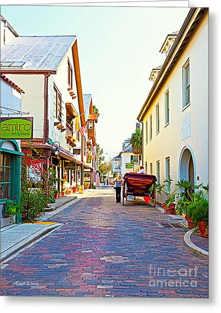 A Walk In St Augustine Greeting Card by Michelle Wiarda