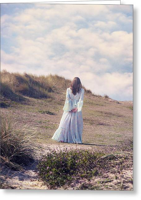 Pensive Greeting Cards - A Walk In The Dunes Greeting Card by Joana Kruse