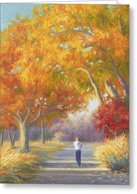 Fall Grass Paintings Greeting Cards - A Walk In The Fall Greeting Card by Lucie Bilodeau