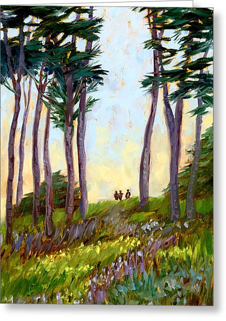 Tall Tree Greeting Cards - A Walk in the Park Greeting Card by Alice Leggett