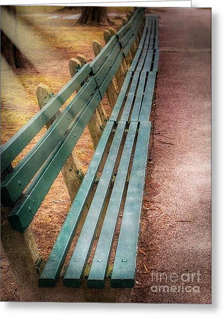 Park Benches Greeting Cards - A walk in the park Greeting Card by Jarrod Erbe