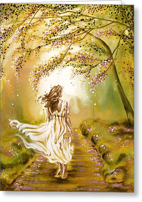 Wood Painitng Greeting Cards - A walk in the park Greeting Card by Karina Llergo Salto