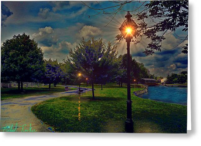 Night Lamp Greeting Cards - A Walk in the Park Greeting Card by Michael Rucker