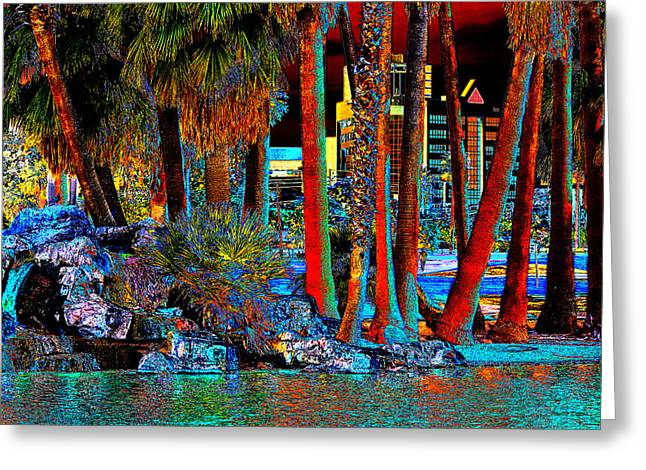 Pond In Park Greeting Cards - A Walk In The Park Pop Art Greeting Card by Phyllis Denton