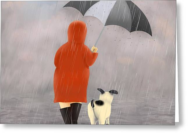 Family Time Greeting Cards - A walk in the rain 2 Greeting Card by Marlene Watson