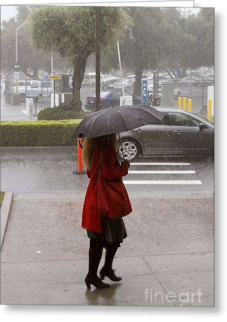 Gcc Greeting Cards - A walk in the rain Greeting Card by Yousif Hadaya