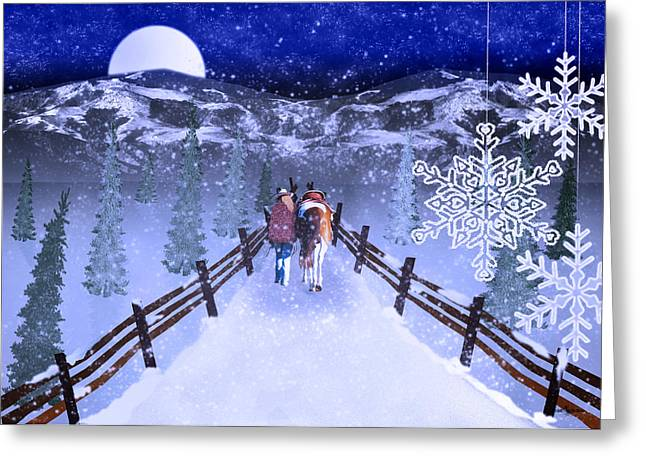 Hores Greeting Cards - A Walk in the Snow 2 Greeting Card by Mechala  Matthews