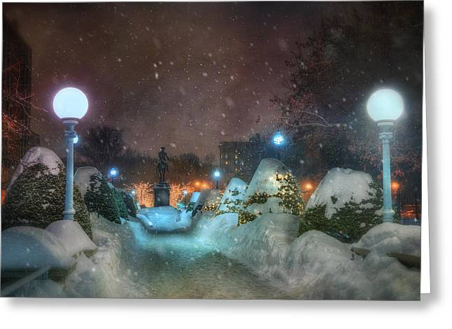 New England Snow Scene Greeting Cards - A Walk in the Snow - Boston Public Garden Greeting Card by Joann Vitali