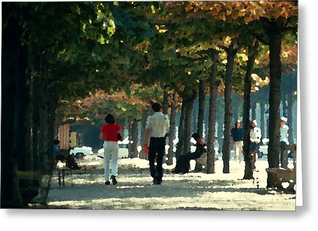 Van Gogh Style Photographs Greeting Cards - A Walk in the Tuileries Greeting Card by Carl Purcell