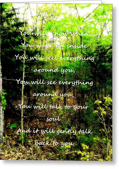 Inner Self Photographs Greeting Cards - A Walk In The Woods Greeting Card by MarLa Hoover