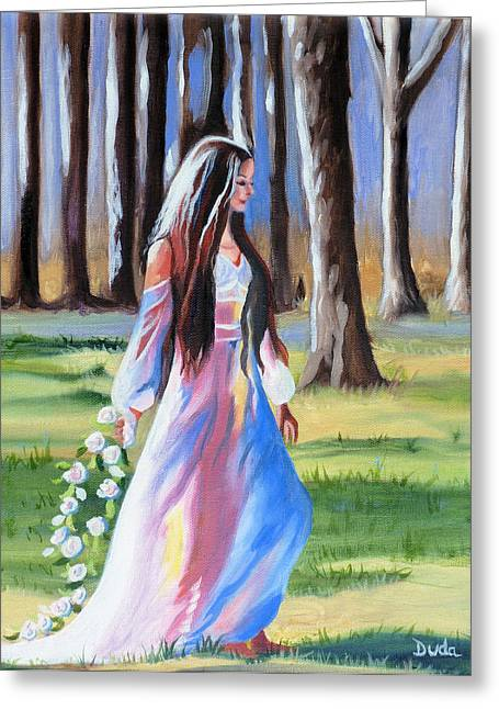 A Girl In A Wood Greeting Cards - A Walk in the Woods Greeting Card by Susan Duda