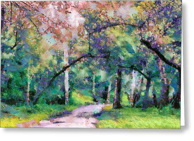 Ghose Greeting Cards - A Walk Inside The Rainbow Forest Greeting Card by Priya Ghose