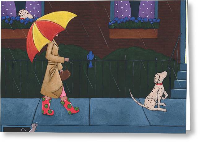 Umbrella Drawings Greeting Cards - A Walk on a Rainy Day Greeting Card by Christy Beckwith