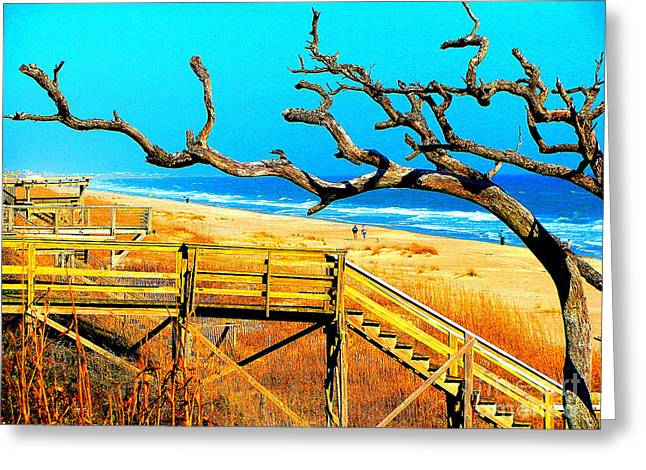 A walk on Atlantic Beach Greeting Card by Mj Carbo