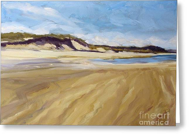 Sanddunes Paintings Greeting Cards - A Walk on The Beach Greeting Card by Colleen Kidder