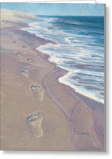 A Walk On The Beach Greeting Card by Lucie Bilodeau
