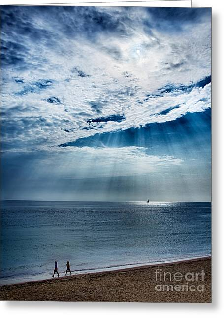 Vineyard Haven Greeting Cards - A Walk On The Beach Greeting Card by Mark Miller