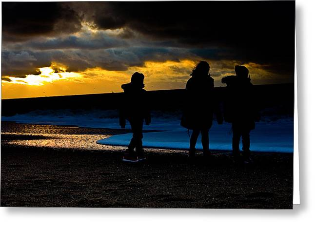 Beach Sunsets Pyrography Greeting Cards - A walk on the beach.. Greeting Card by Michael  Bjerg
