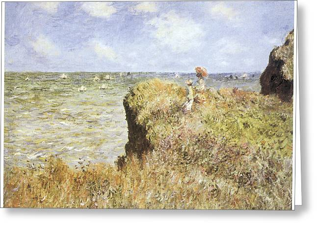 On A Walk Greeting Cards - A Walk on the Cliffs Greeting Card by Claude Monet