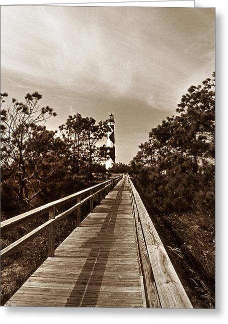Lighthouse Photography Greeting Cards - A Walk To Cape Lookout Greeting Card by Skip Willits