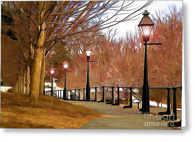 Streetlight Greeting Cards - A Walk to Remember Greeting Card by Terry Weaver