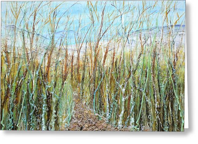 Bare Trees Reliefs Greeting Cards - A walk to the Dunes Greeting Card by Regina Valluzzi