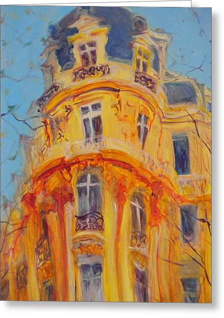 Facades Photographs Greeting Cards - A Walk Up The Champs-elysees, 2010 Oil On Canvas Greeting Card by Antonia Myatt