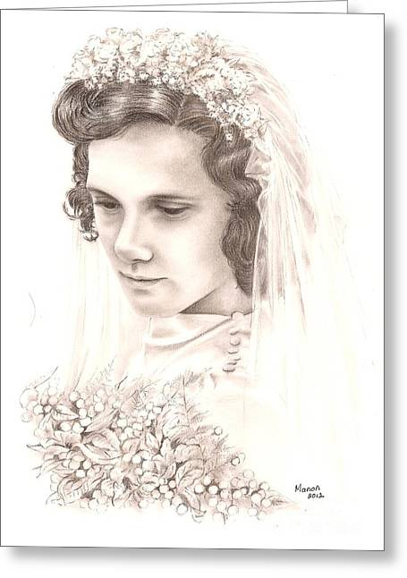 Contemplative Drawings Greeting Cards - A war bride Greeting Card by Manon  Massari