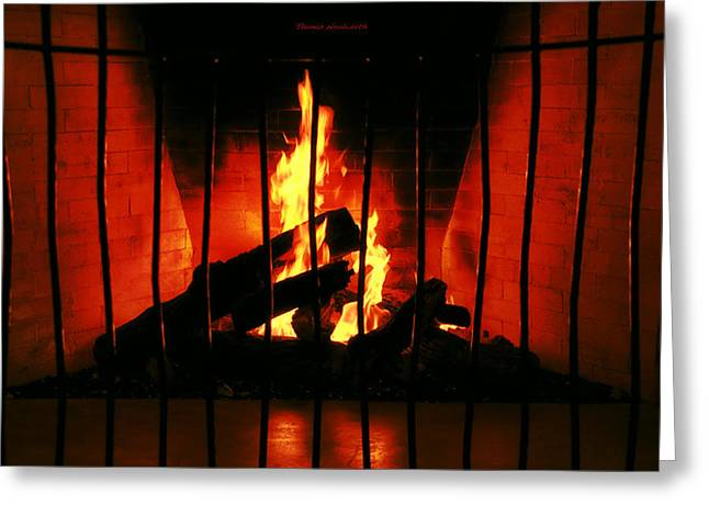 Firepit Greeting Cards - A Warm Fireplace Greeting Card by Thomas Woolworth