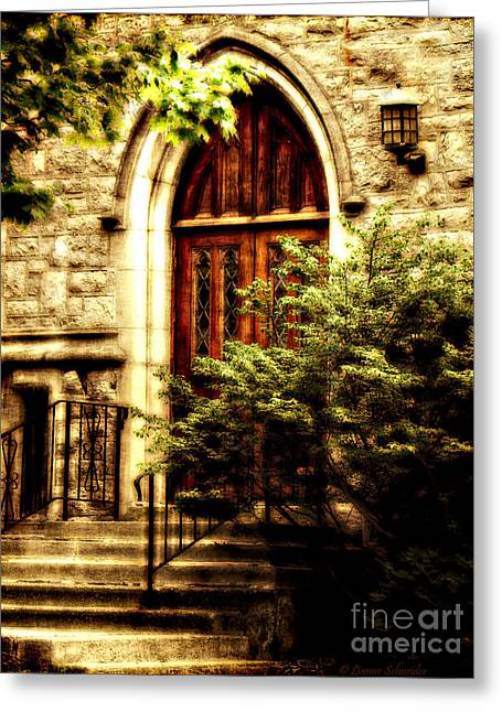 Main Street Greeting Cards - A Warm Invitation Greeting Card by Lianne Schneider