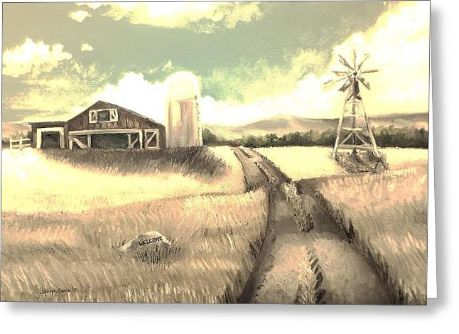 Barn Yard Greeting Cards - A Warm Welcome Antique Greeting Card by Shana Rowe